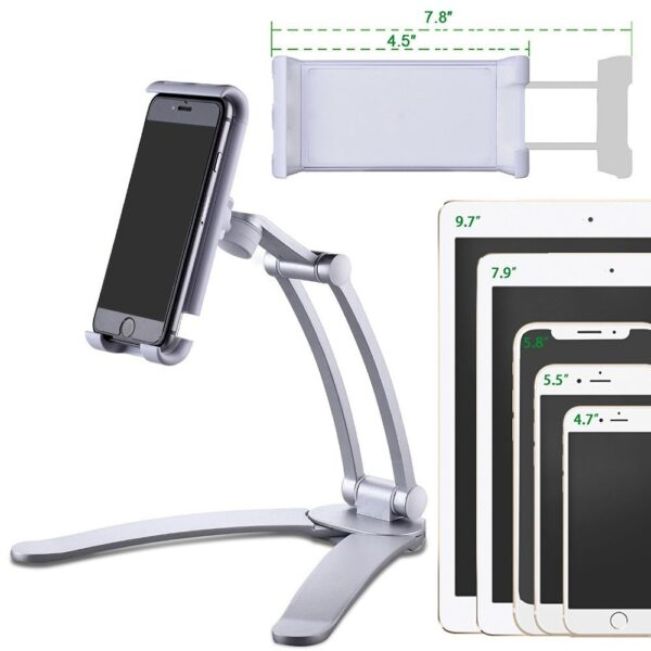 Besegad Tablet Desk Wall Stand Phone Holder Bracket Mount Rotatable for 5-10.5 inch iPhone iPad Huawei Xiaomi Notebook Support