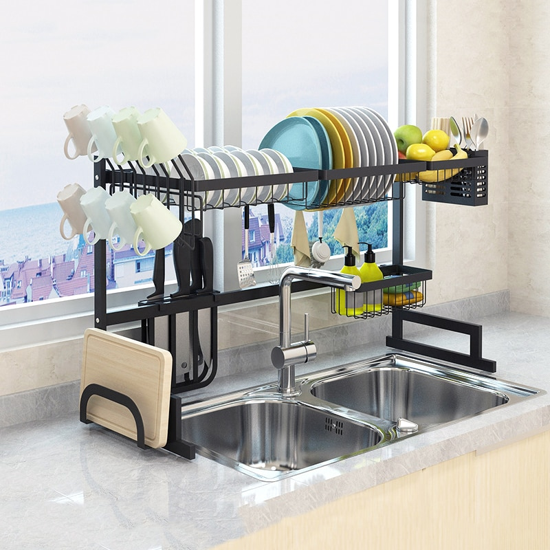 95/85/65cm Upgrade Black Stainless Steel Dish Rack Over The Sink Dish Drying Rack Cup Holder Kitchen Organizer