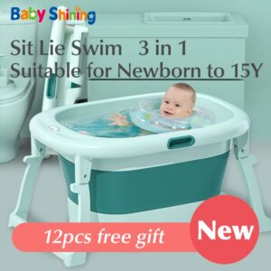 Baby Shining Bath Tub Bed 0-15Y Swim Plastic Portable Folding Home Bath Large Thick Widen Heat Preservation Children Bath Bucket