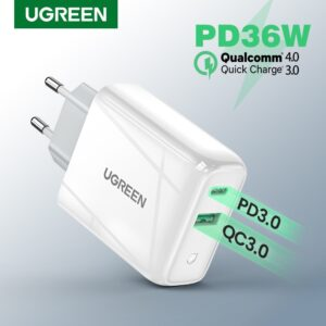 Ugreen 36W Fast USB Charger Quick Charge 4.0 3.0 Type C PD Fast Charging for iPhone 11 USB Charger with QC 4.0 3.0 Phone Charger