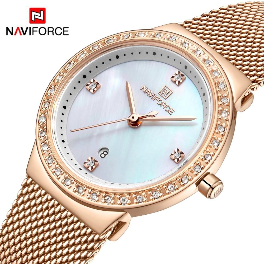 New NAVIFORCE Rose Gold Women Watch Business Quartz Watch Ladies Top Brand Luxury Female Wrist Watch Girls Clock Relogio Feminin
