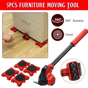 Heavy Duty Furniture Lifter Transport Tool Furniture Mover set 4 Move Roller 1 Wheel Bar for Lifting Moving Furniture Helper