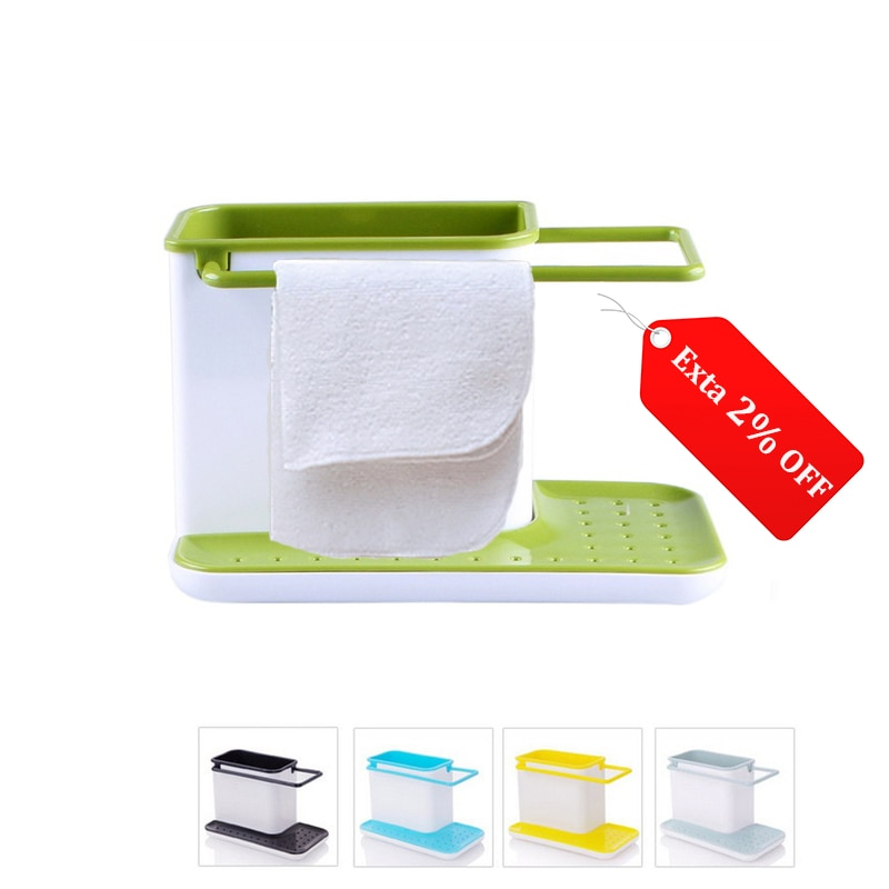 Storage Shelf Sponge Holder Draining Sink Box Kitchen Organizer Draining Rack Dish Storage Rack Stands Tidy Utensils Towel Rack