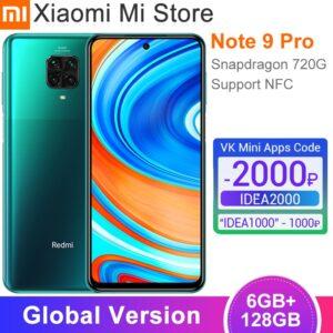 Global Version Xiaomi Redmi Note 9 Pro Smartphone 6GB RAM 128GB Snapdragon 720G Octa Core 64MP Quad Camera NFC Mobile Phone