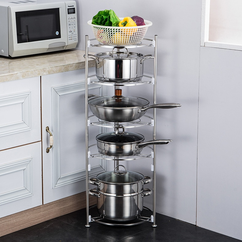 Pot Rack Organizers 5 3 2 Tiers Pots and Pans Organizer, Adjustable Pot Lid Holders & Pan Rack for Kitchen Counter Cabinet