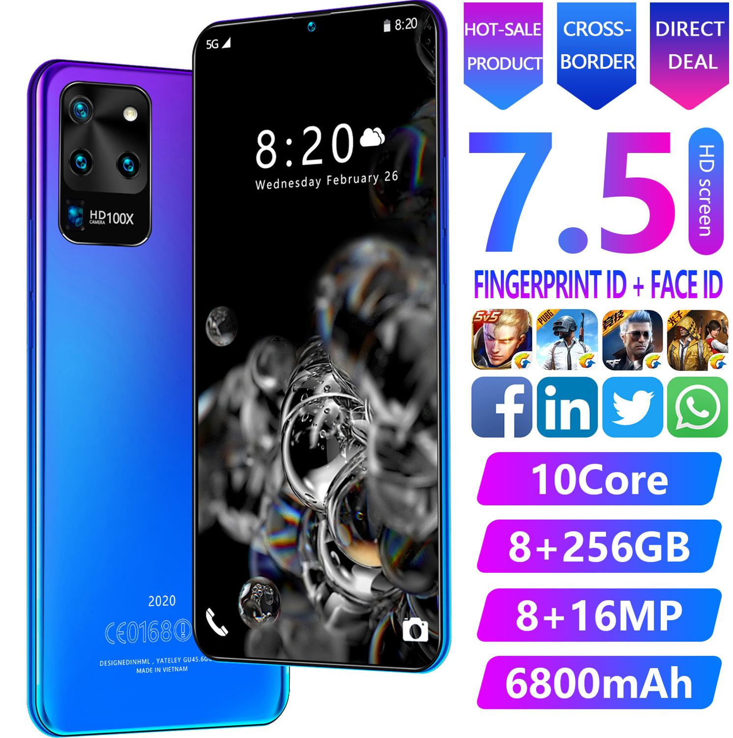7.5-inch Galay S20 Internet shipping worldwide 8GB RAM 256GB ROM Octa Core 4 camera Snapdragon 855 smartphone (with phone case)