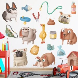 Removable Wall Stickers Cute Dog Pet Store Wall Decoration Cartoon DIY Kids Room Wall Decals Wall Papers Home Decor Mural Art