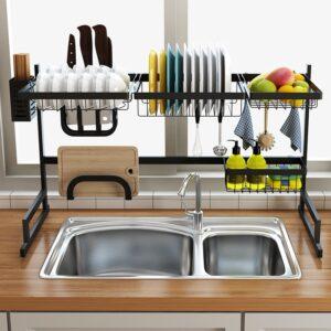 85/65cm Black Kitchen Dish Rack U Shape Stainless Steel Sink Drain Rack Two layers Kitchen Organizer Shelf Storage Holder