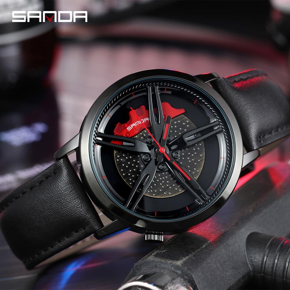 SANDA Top Brand New Men Wristwatch Fashion Wheel Series Dial Leather Strap Waterproof Gift Watch Premium Quartz Movement 1040