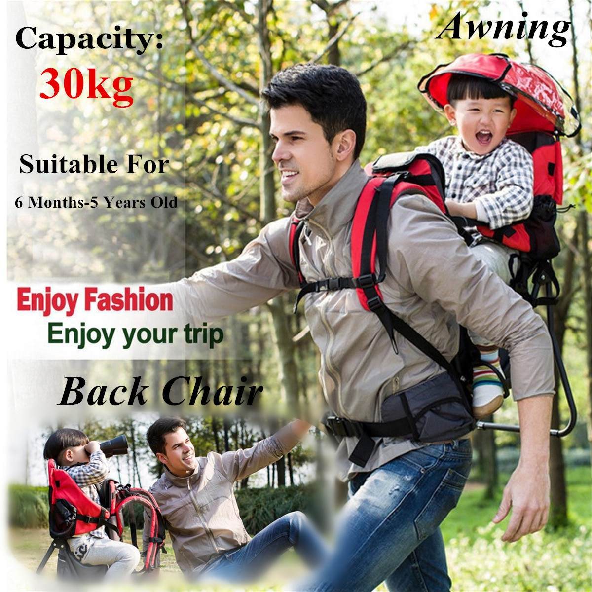Foldable Baby Travel Carrier Waterproof Baby Toddlr Hiking Backpack Outdoor Mountaineering Shade Carrier-Original Frame Chair