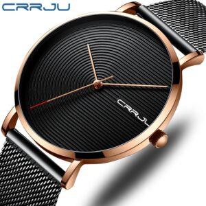 Premium brand CRRJU new minimalist style men's watch, design style high-grade solid color sports lightweight watch