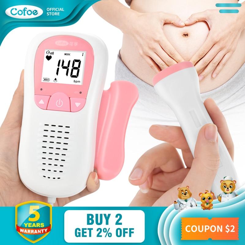 Cofoe Doppler Fetal Heartbeat Detector Baby Care Household Portable for Pregnant Fetal Pulse Meter No Radiation Stethoscope