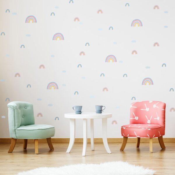 Tofok PVC 58pcs/set Rainbow Clouds DIY Home Wall Sticker Kids Room Nursery Classroom Coffee Store Cute Ins Decor Mural Decals
