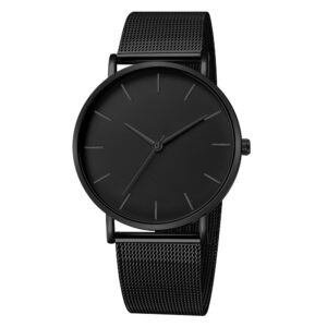 Ladies Watch, Modern Fashion, Black Quartz Watch for Women, Stainless Steel Mesh Bracelet, Premium Quality, Casual Wrist Watch