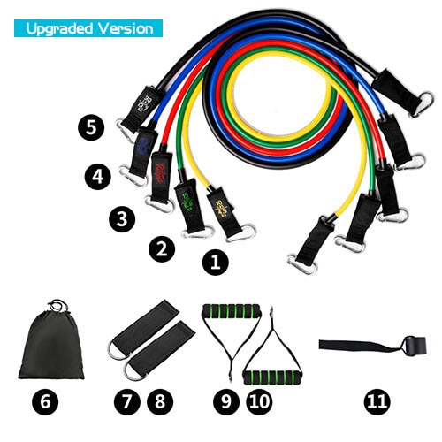 11pcs/set Fitness Resistance Tube Band Yoga Gym Stretch Pull Rope Exercise Training Expander Door Anchor With Handle Ankle Strap