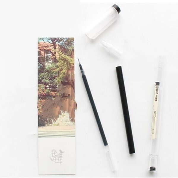 50+2Pcs/Set 0.35mm Red/Black/Blue Ink Gel Pens Set Refills Rod Gel Pen For School Office Stationery Student Writing Supplies