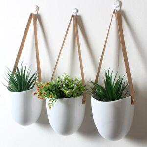 3pcs/set Nordic Style Ceramic Flower Pot Plant Decoration Stand Hanging Planter Home Corridor Balcony Wall Hanging Flower Pot