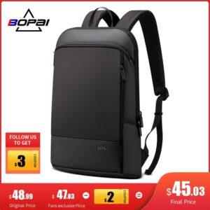 BOPAI Slim Laptop Backpack Men 15.6 inch Office Work Women Backpack Business Bag Unisex Black Ultralight Backpack Thin Back Pack