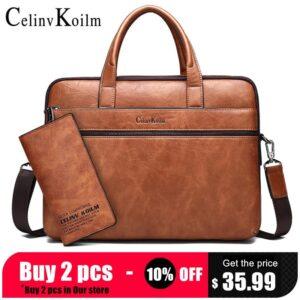 "Celinv Koilm Men's Briefcase Bags For 14"" Laptop Business Bag 2Pcs Set Handbags High Quality Leather Office Shoulder Bags Tote"
