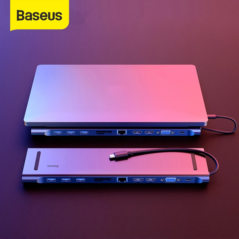 Baseus Multi USB C HUB to HDMI VGA RJ45 3.0 USB HUB for MacBook Pro Type C HUB Computer Accessories 11 Ports Splitter USB C HUB
