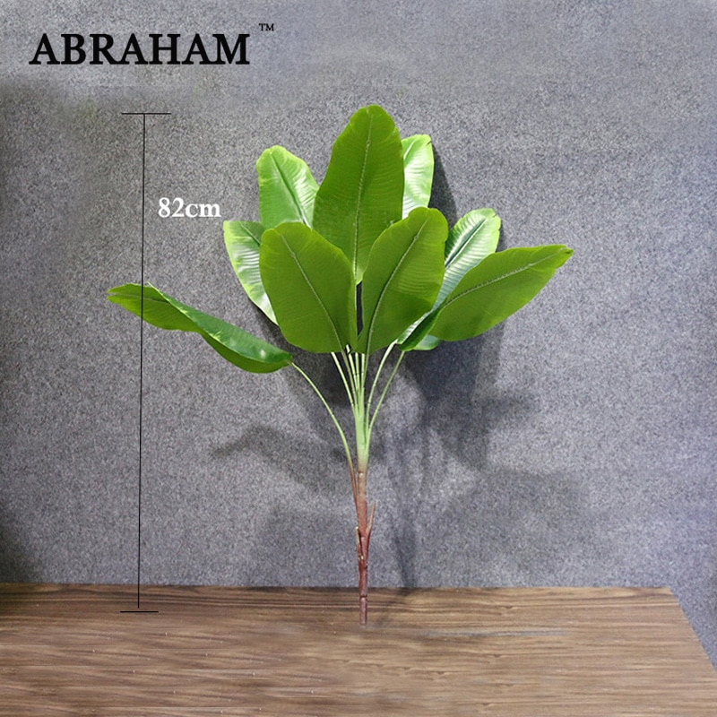 82cm Large Artificial Plant Tropical Palm Tree Fake Plant Branch Banana Tree Plastic Green Leaves Home Party Jungle Decoration