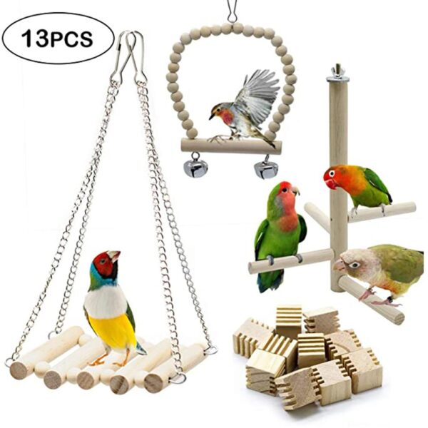 13 Packs Bird Toys Parrots Chew Toys, Ladders, Small Parrots Chew Prevent Them from Plucking Feathers and Screaming