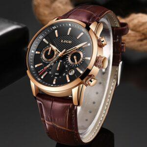 2020 LIGE Classic Rose Gold Black Mens Watches Top Brand Luxury Sport Quartz Watch Men Premium Leather Business Waterproof Clock