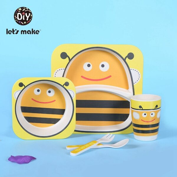 Let's Make Baby Bamboo Bowl+Spoon+Fork Feeding Food Tableware Set Cartoon Aniaml Bee Kid Dishes Bamboo Feeding Bowl Dinner Plate
