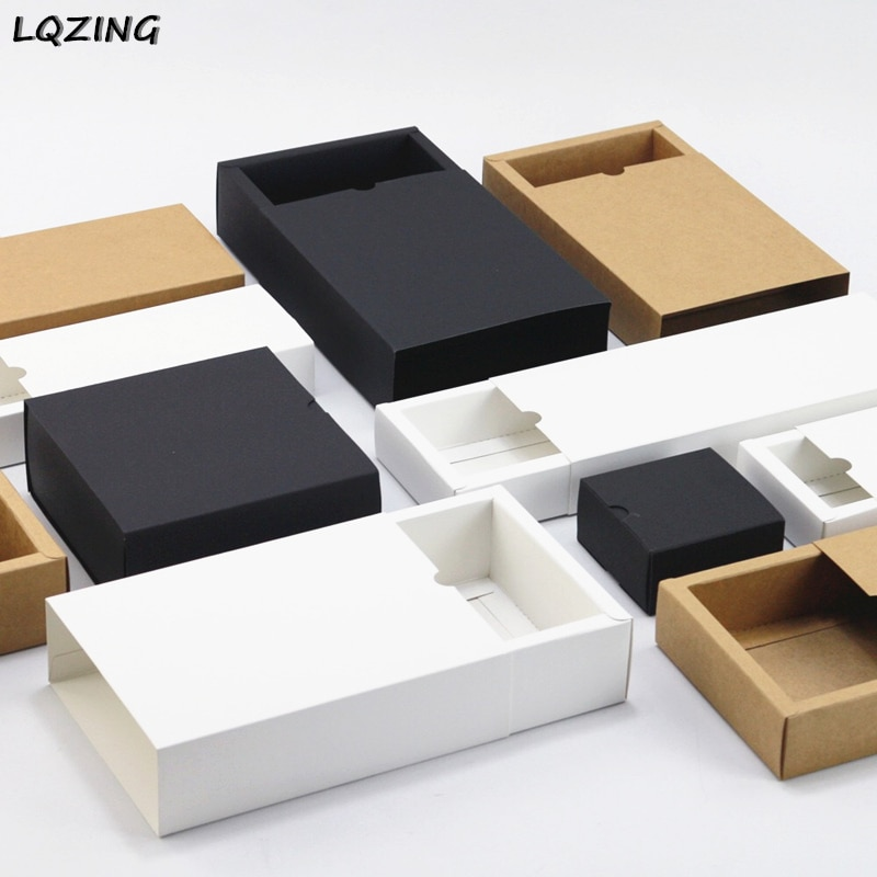 20pcs Black kraft gift packaging cardboard box black packing gift box white paper drawer box wedding favor delicate drawer boxes