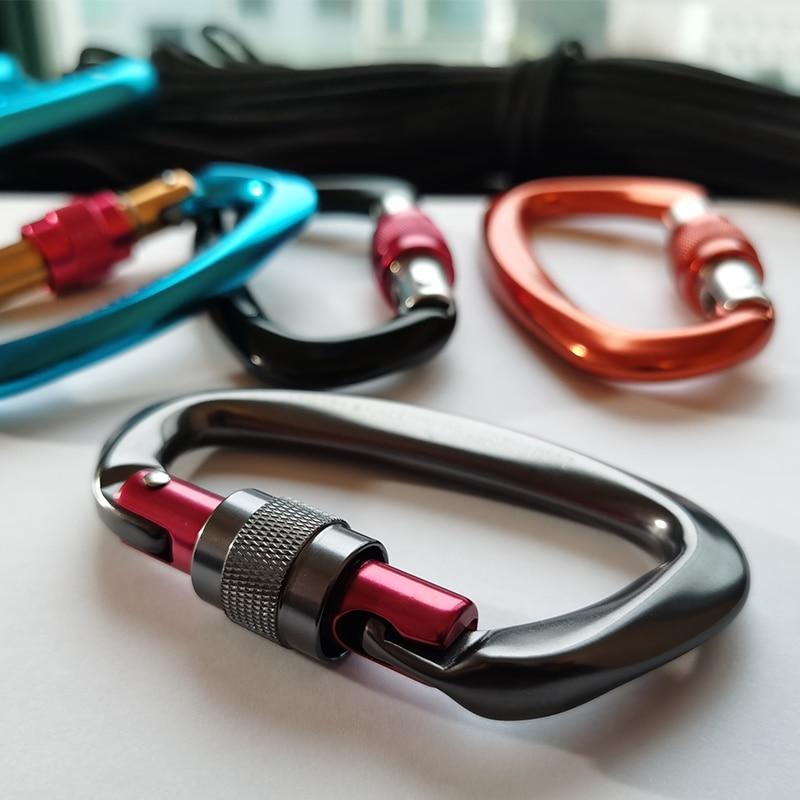 4pcs Professional Climbing Carabiners 25KN D Shape Climbing Buckle Lock Safety Lock Outdoor Climbing Equipment Accessories