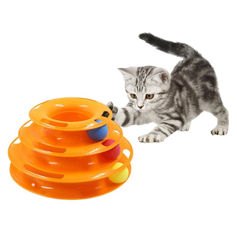 Three Levels pet cat toy Tower Tracks Disc cat Intelligence Amusement triple pay disc cat toys ball Training Amusement plate