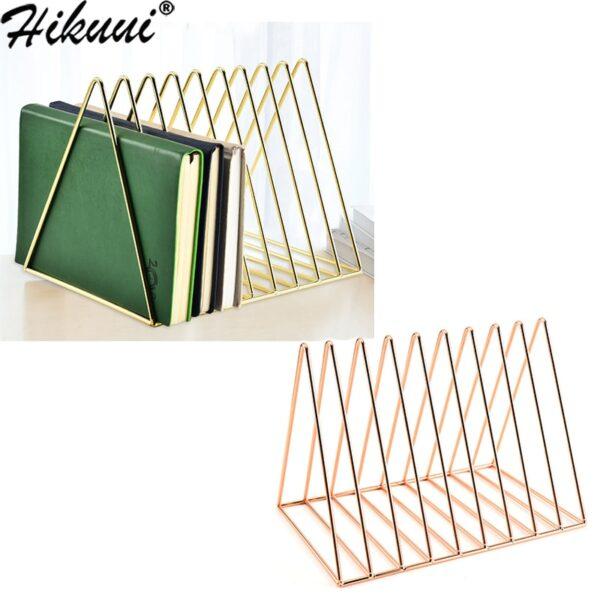 Iron Metal Book Shelf Newspapers Magazines Organization Desk Holder Stand Bookend Geometry Storage Rack Home Decor Shelf