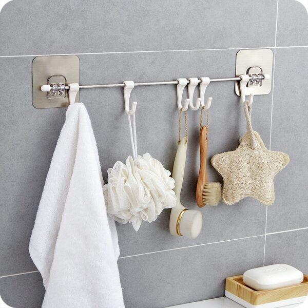 Kitchen Gabgets Cupboard 6 Hook Home Organizer Storage Rack Pantry Chest Tools Towels Hanger Wardrobe Towel Rack Storage Shelf