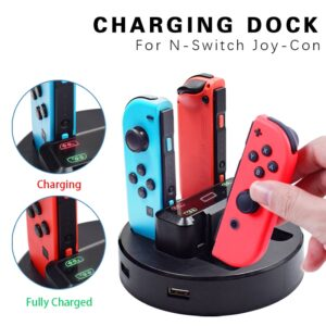 Joy-Con Charger Dock Station LED Charging Dock Charge Stand Holder with Micro USB Cable for Nintendo Switch Console