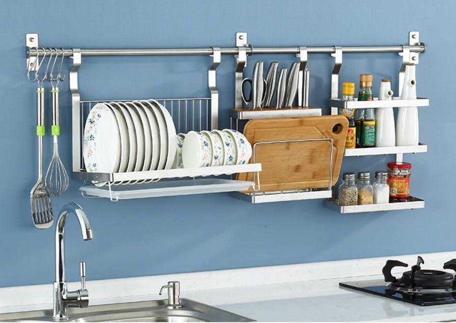 Stainless Steel Kitchen Storage Rack DIY Knife Chopping board Organizer Flavoring Spoon Dish Drying Rack Shelf Wall Mounted B509
