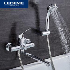 LEDEME Bathroom Fixture Sets Faucets 1 SET Set Bath Shower Tap Bathroom Shower Set Bathtub Faucet Waterfall Shower Head L2242