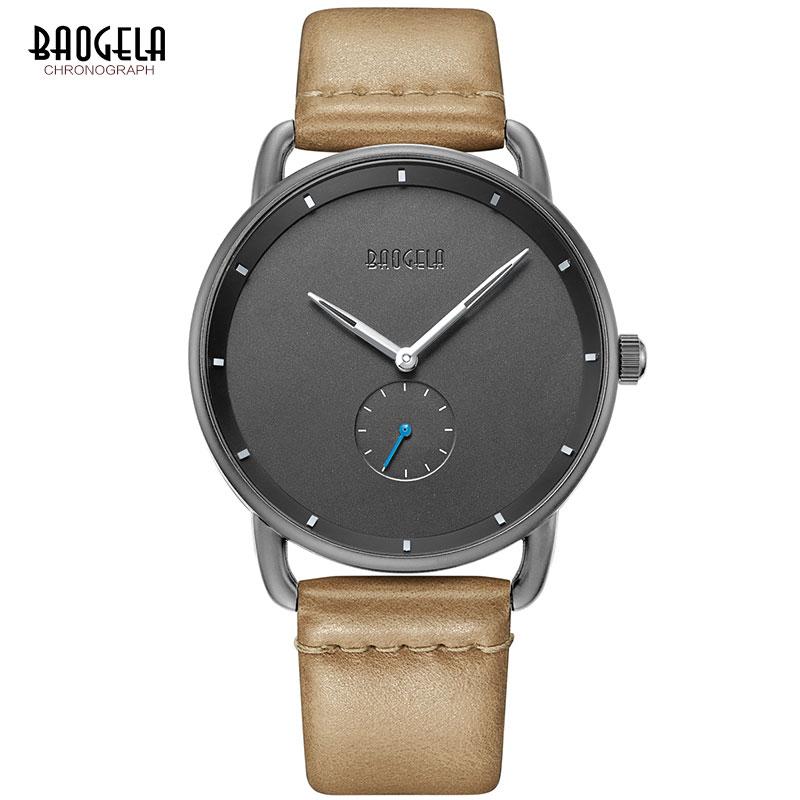 BAOGELA Men's Premium Simple Quartz Watches Casual Leather Strap Minimalism Waterproof Wristwatch for Man 1806Light Brown