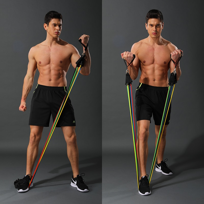 11 Pcs/Set Latex Resistance Bands Crossfit Training Body Exercise Yoga Tubes Pull Rope Chest Expander Pilates Fitness with Bag
