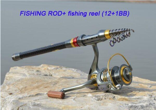 Carbon Fiber Telescopic Fishing Rod Portable Spinning Fishing Rod Pole Travel Sea Boat Rock Fishing Rod