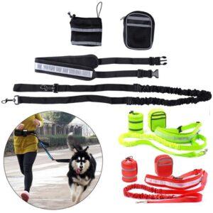 Pet Sports Kit Cat Dog Hands Free Nylon Elastic Dog Leash Lead Strap Rope Waist Belt For Walking Running Accesories Kits