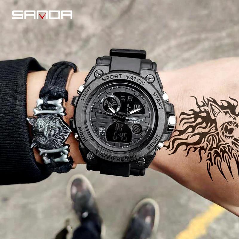 SANDA 739 Sports Men's Watches Top Brand Luxury Military Quartz Watch Men Waterproof S Shock Male Clock relogio masculino 2020