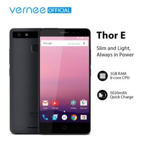 Vernee Thor E 5020mAh Big Battery Quick Charge Mobile Phone 4G LTE Dual SIM 5MP+13MP Smartphone