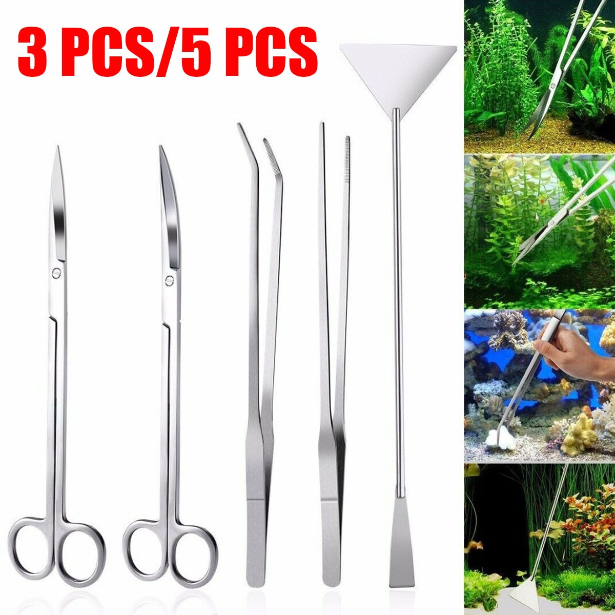 3/5pcs Aquarium Tank Tools Kit Aquascaping Fish Tank Aquatic Plants Long Tweezers Scissors Stainless Steel Maintenance Tool