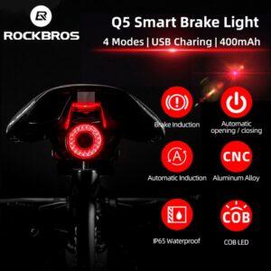 ROCKBROS Bicycle Smart Auto Brake Sensing Light IPx6 Waterproof LED Charging Cycling Taillight Bike Rear Light Accessories Q5