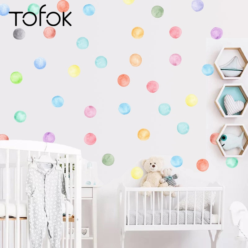 Tofok 25pcs Colorful Watercolor Dots DIY Wall Sticker Ins Nordic Style Living Room Kids Room Art Mural Decals Home Store Decor