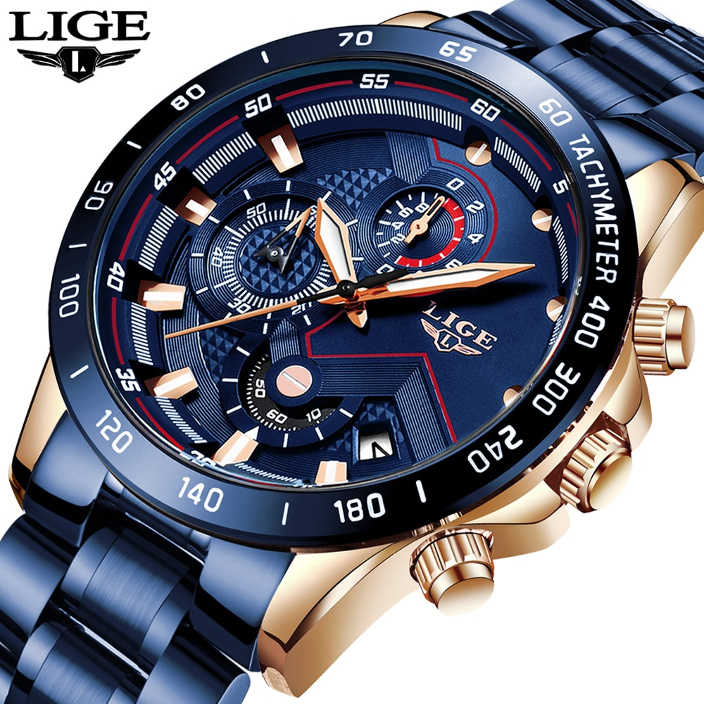 LIGE 2020 New Fashion Mens Watches with Stainless Steel Top Brand Luxury Sports Chronograph Quartz Watch Men Relogio Masculino