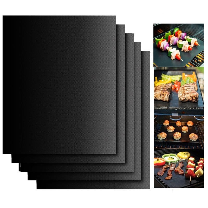 6pcs Non-stick BBQ Grill Mat Baking Mat BBQ Tools Teflon Cooking Grilling Sheet Heat Resistance Easily Cleaned Kitchen Tools