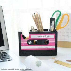 Retro Cassette Tape Pen Stand Storage Box Tape Cutter Desk Organizer Pen Case Holder Stationery Accessories Office Organization