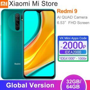 "In Stock Global Version Xiaomi Redmi 9 Smartphone 3GB 32GB Helio G80 Octa core 13MP AI Quad Camera 6.53"" Display 5020mAh"