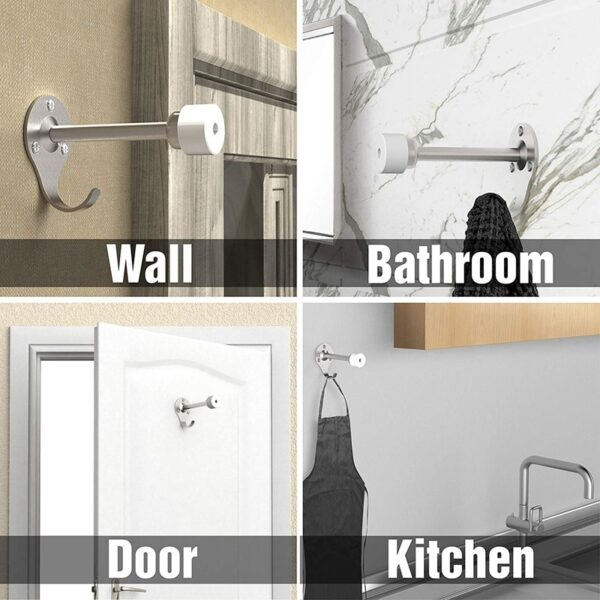 Door Stops Stainless Steel Door Stopper Wall Mount with Extra Hook for Increase Storage Space to Office & Home Improvement, Prot
